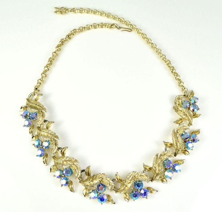 Vintage 1950s EXQUISITE Blue Aurora Borealis Necklace Retro Bridal Jewellery | eBay