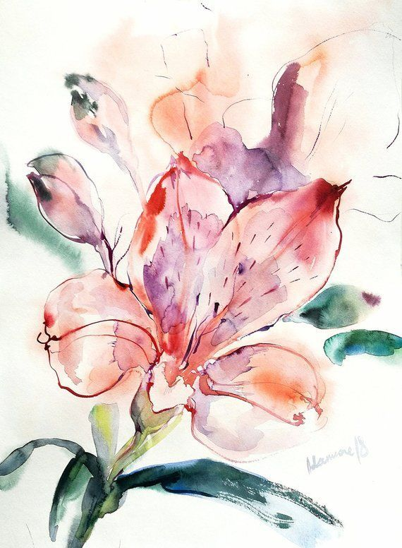 Flower Wall Art Original Watercolor Painting Pink Water Colour