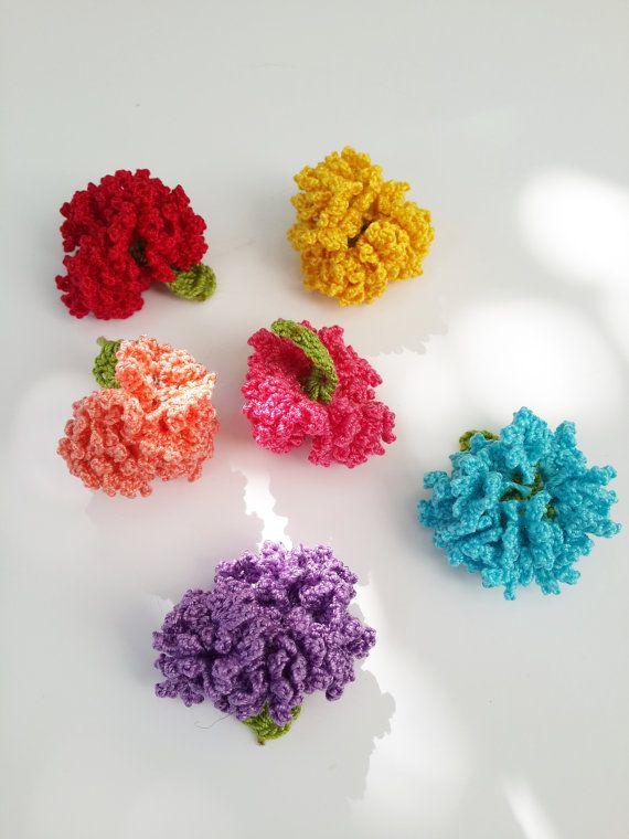 Carnation Flower-Crochet Flower -headband-accessory-lapel pil-