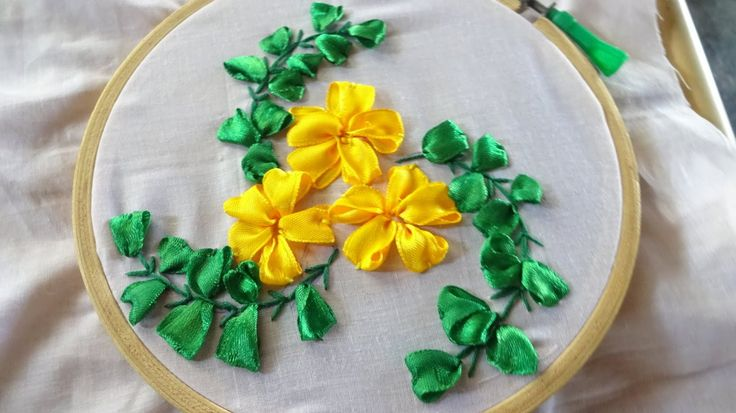 Embroidery Ribbon Flower Stitching By Amma Arts