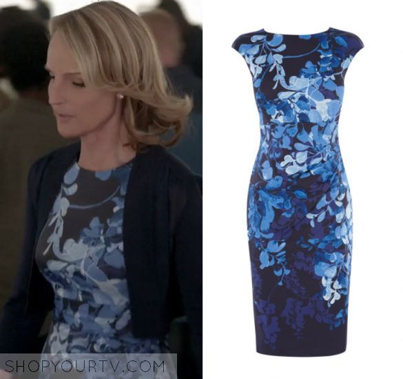 "Shots Fired: Season 1 Episode 6 Patricia's Blue Floral Dress | Shop Your TV Patricia Eamons (Helen Hunt) wears this black and blue short sleeve pencil sheath dress in this episode of Shots Fired, ""Hour Six: The Fire This Time"".  It is the Karen Millen Floral Print Pencil Dress in Blue/Multi."