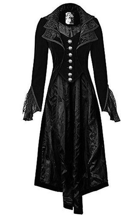 PUNK RAVE Samt Frack Coat Black Velvet Viktorianischer Edel GOTHIC (S)