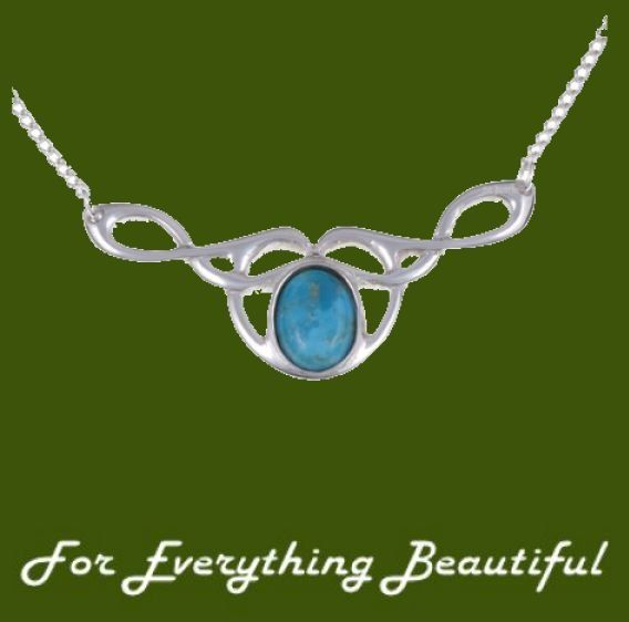 Celtic Bird Knotwork Turquoise Design Stylish Pewter Necklace