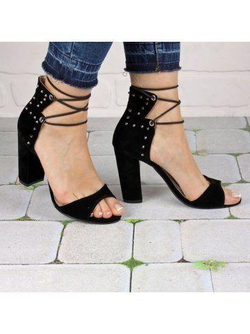Siyah İpli Zımba Detaylı Topuklu Ayakkabı - Fotoğraf 21