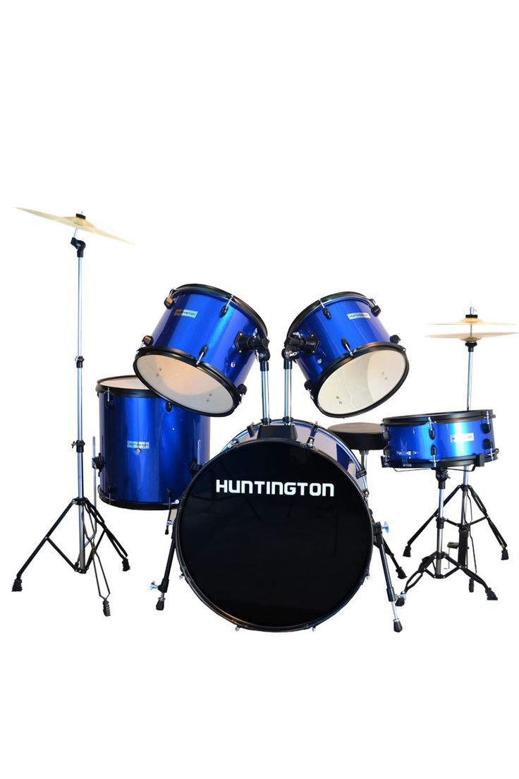 This eye-catching metallic colors collection of the drum set by Huntington is set to amaze the audience of every young performer. Groove with this full-size drums set! A perfect addition to your band instruments.  All of the main parts are double braced for safety and stability. Made from high-quality multi-ply hardwood shells and the metal rims are covered with special black powder to complete its elegant look. Good quality comparable to high priced instrument out there in the market.