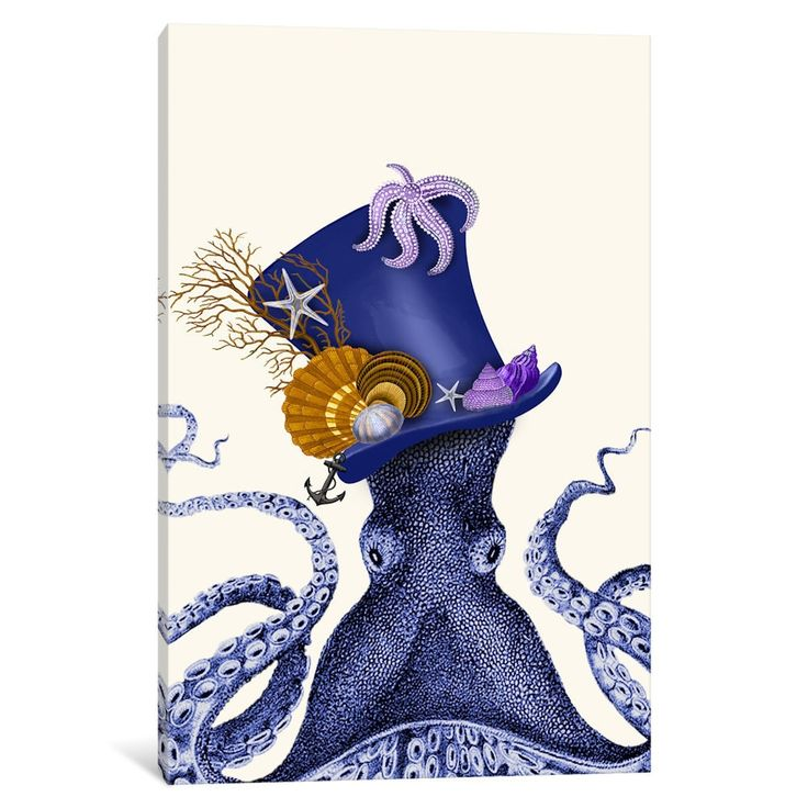 iCanvas Octopus Nautical Hat by Fab Funky Canvas Print