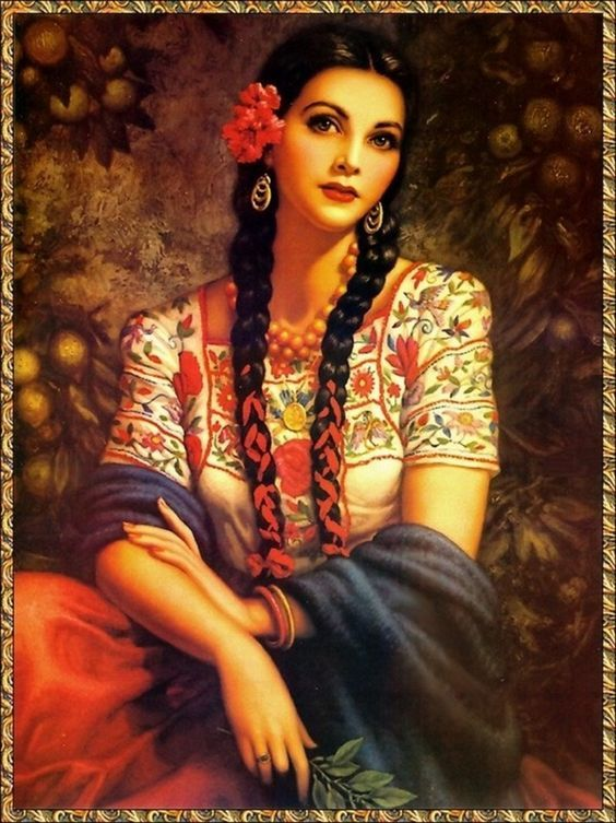 By Jesus Helguera, a Mexican painter. - Beautiful Mexican woman with braids. -