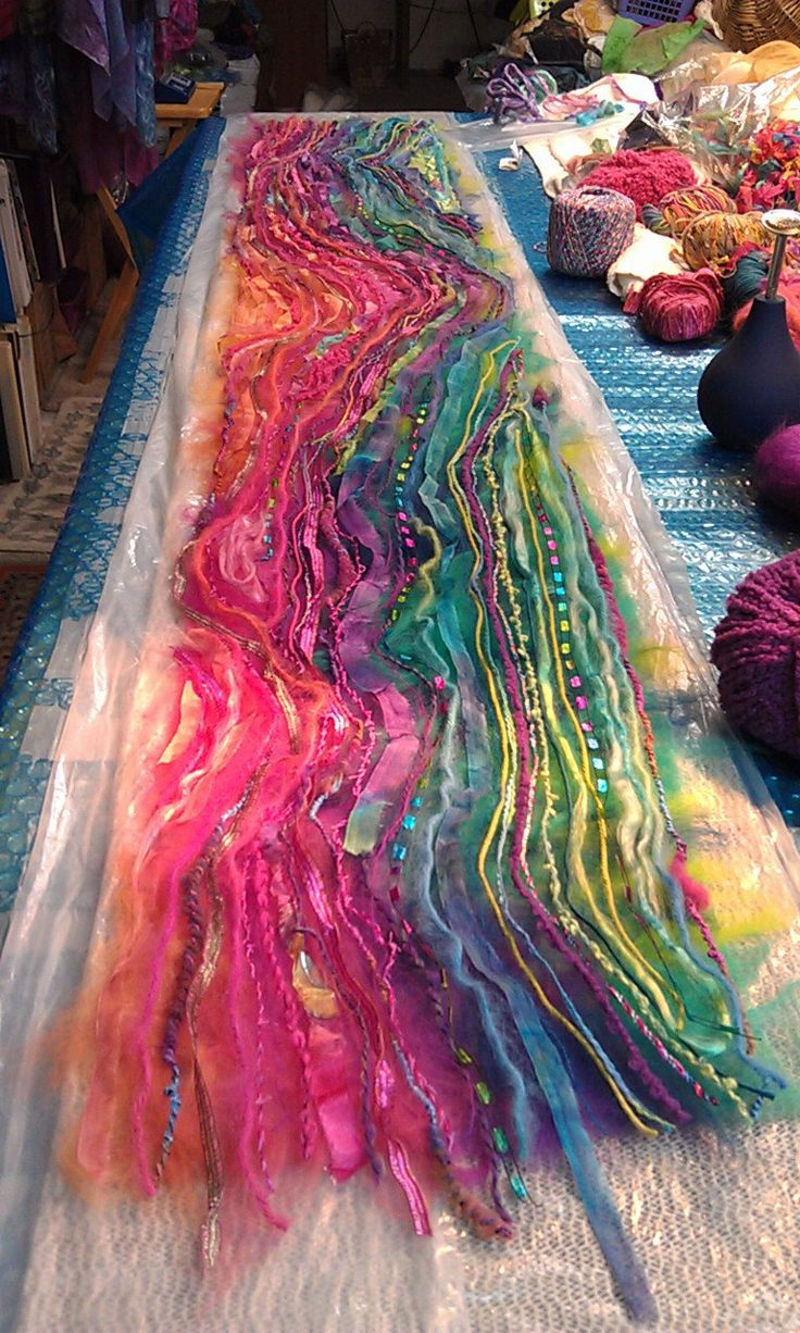 Using Nuno felting techniques, be prepared to be elated as you transform layers of hand-painted silk, wool roving and novelty art yarns into gorgeous