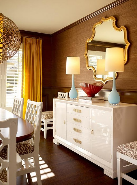 Dining room idea...buffet, double lamp, mirror
