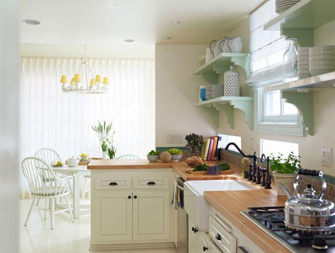 light green detailing: Kitchens, Open Shelves, Alexandra Angles, Butcher Blocks, Color, Interiors Design, Pretty Rooms, House, Wooden Countertops