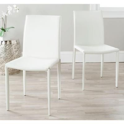 Safavieh Karna White Bonded Leather Dining Chair-FOX2009A-SET2 - The Home Depot