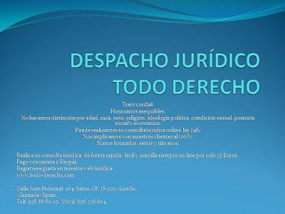 TODO-DERECHO DESPACHO JURÍDICO : Puede realizarnos su consulta jurídica online las ...