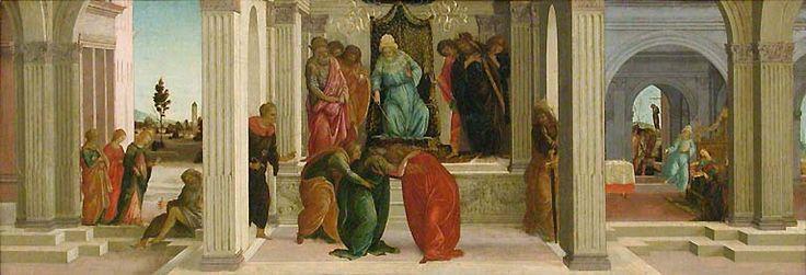 Botticelli et Filippino Lippi, L'évanouissement d'Esther devant Assuérus - Musée du Louvre.  Les petites scènes racontant d'autres scènes de la vie d'Esther - la grâce d'Esther qui s'évanouit entre ses deux suivantes.