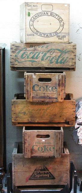 Old Wooden boxes and crates... Can be used one on top of the other or two at a time to add charm to any room not just the kitchen.