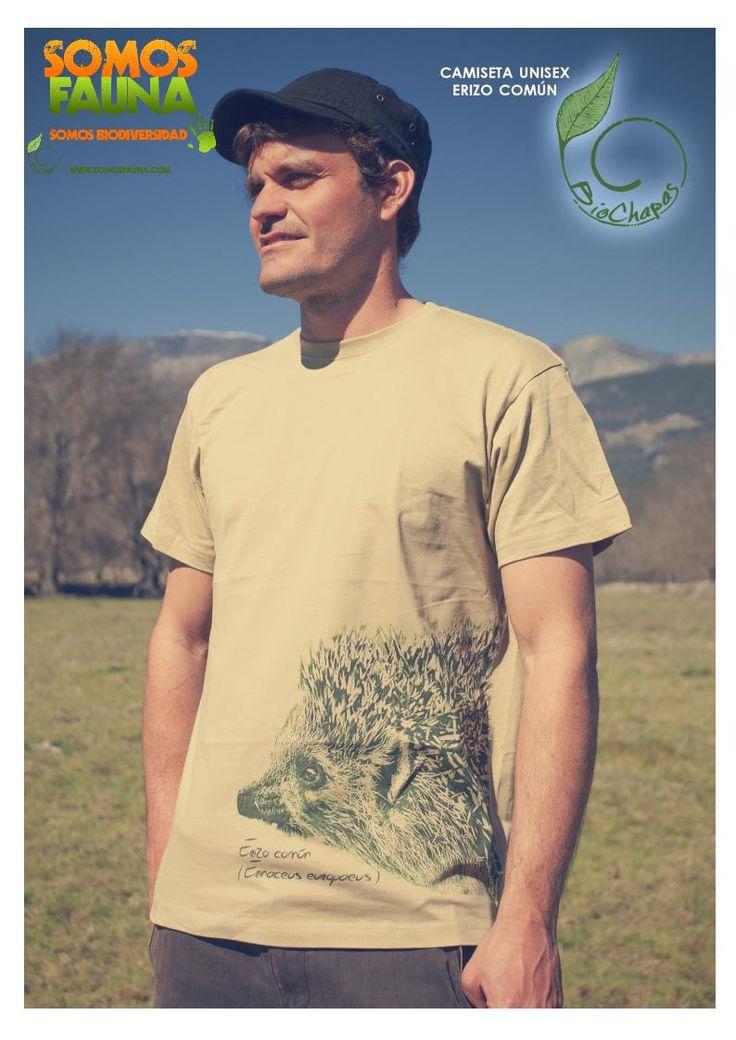 Camiseta - Erizo común - Manga corta -  SomosFauna - Color Verde