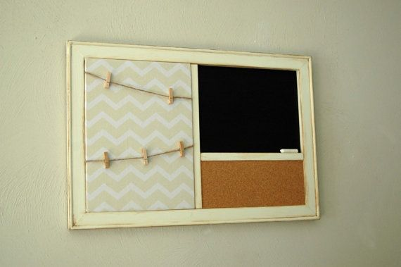 Tan Chevron Fabric Pinboard with Clothespin Photo Display, Chalkboard or Whiteboard,  Corkboard Organizer in a Distressed  White  Frame