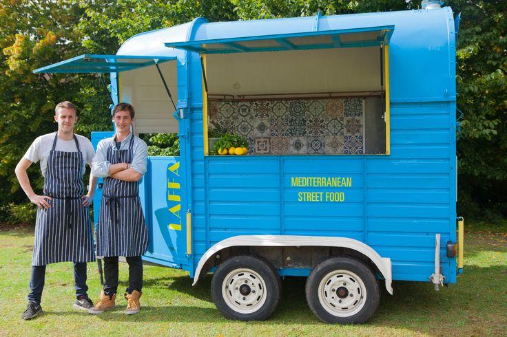 Converted horse box food truck that does Mediterranean street food n the UK. Laffa www.laffafood.com