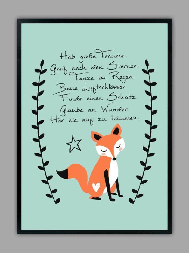 """Originaldruck - """"HAB GROßE TRÄUME"""" Kunstdruck in mint, Geschenk - ein Designerstück von Smart-Art-Kunstdrucke bei DaWanda"""