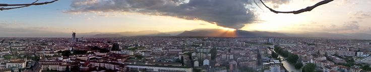 View over Turin & the Alps taken from The Eye of Turin