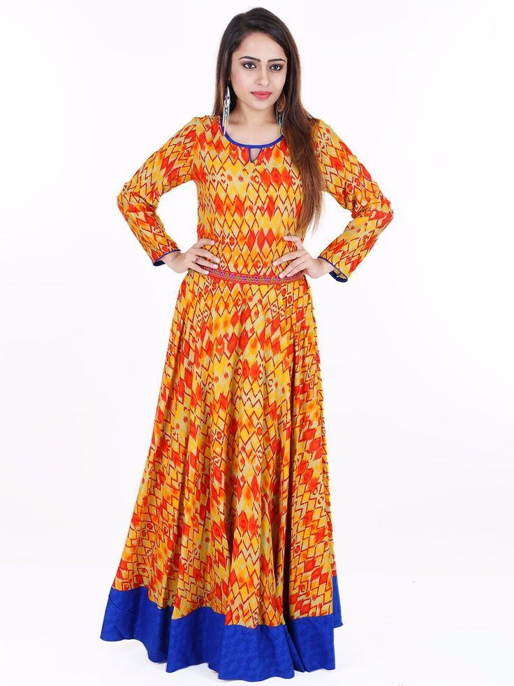 G3 Exclusive Orange Printed Cotton Festive Wear Long Anarkali Kurti. G3 Exclusive Ready Made Designer Black Raw Silk Blouse. To View more collection at www.g3fashion.com For price or detail do whatsApp +91-9913433322.
