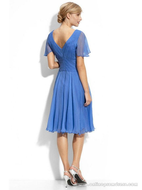 Sheer Cap Sleeve Chiffon Bridesmaid Dress