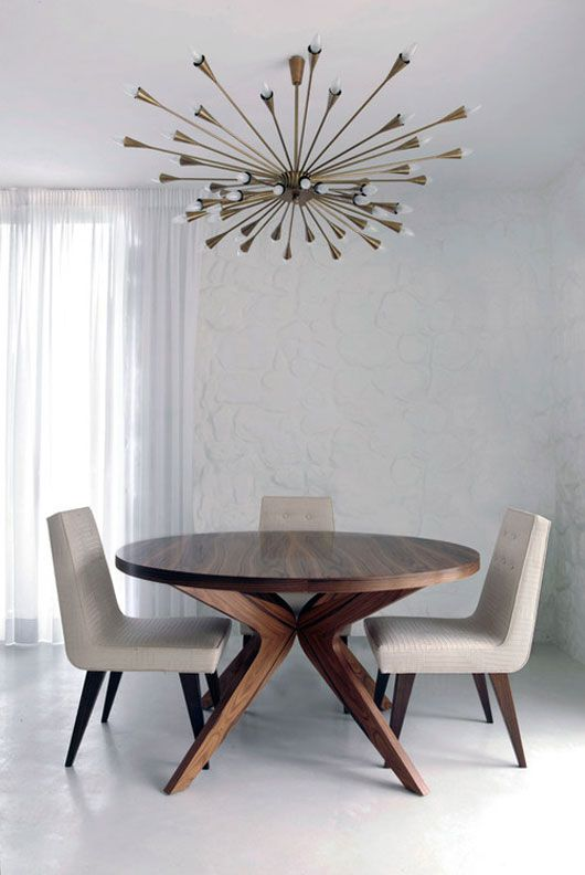 Mid Century Dining Space Principles: Large Pendant Light, 50's table and chairs, side board (with bar!) and oversized 50's mirror