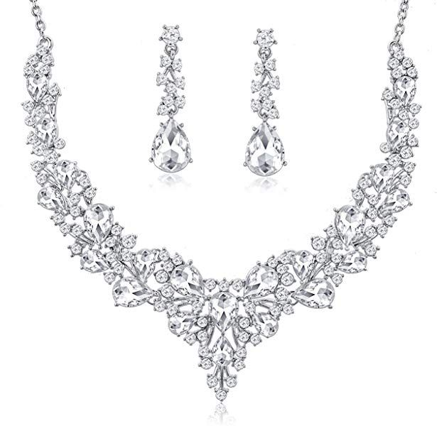 343b4b47f6 Amazon.com: Choker Wedding Jewelry Sets Austrian Crystal Necklace and Earrings  Set Gifts fit with Wedding Dress: Jewelry