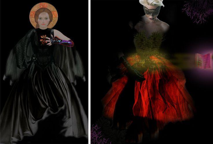 Ulla Karttunen, 2 digitaalista ikonia Musta madonna -sarjasta, 146x89, 146 x 123