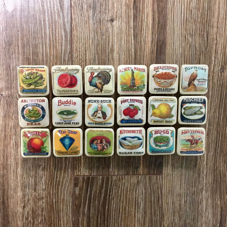 1.5 inch square vintage food labels cabinet knobs drawer pulls white fruits vegetables by HolyChicBoutiqueCo on Etsy