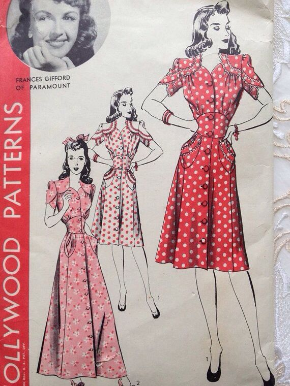 Hollywood Patterns 1940s In Through Waters Deep Original Inspiration For Mary S Daring Red Dress Vintage Dress Patterns Pattern Fashion Vintage Outfits