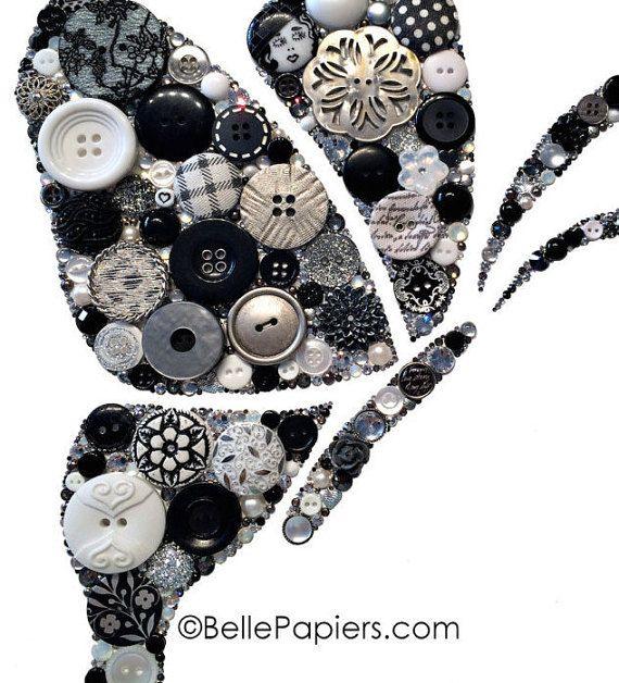 Button Art Butterfly button & Swarovski Crystal by BellePapiers