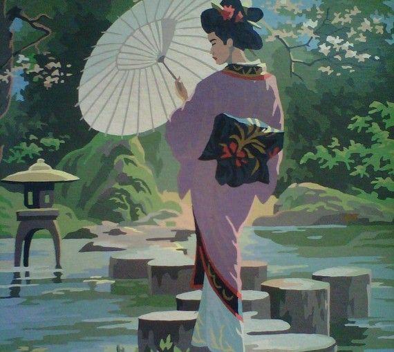 What Genuine woodprint painting of geishas