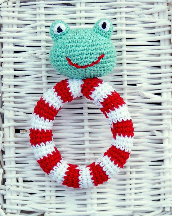 Crochet Rattle  Frog with Lifebuoy  Baby by YarnBallStories, $20.00