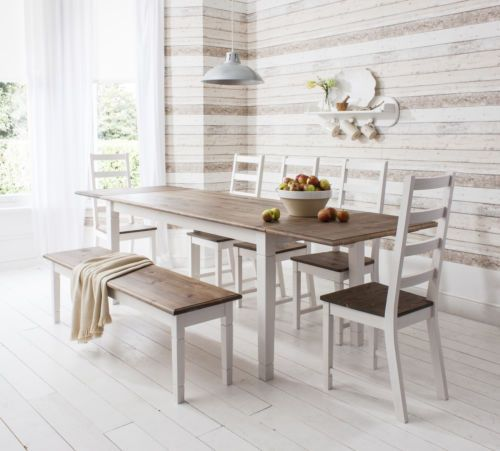 Dining Table And Chairs Dark Pine And White With Extending