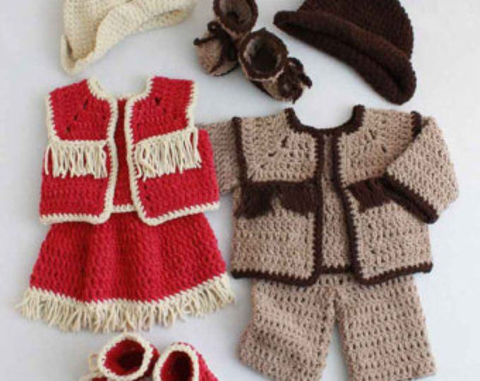 Baby Cowboy and Cowgirl Set Crochet Pattern PDF