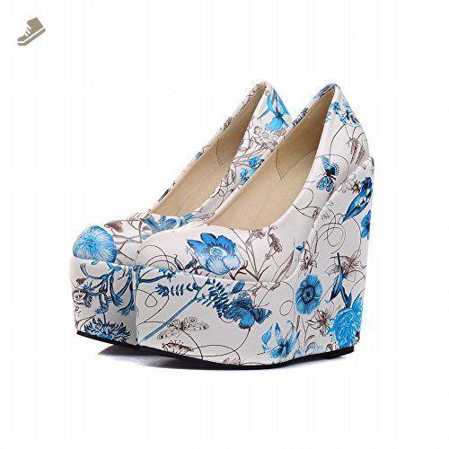 Charm Foot Fashion Floral Print Womens Platform Wedge Pumps Shoes (10, Blue) - Charm foot pumps for women (*Amazon Partner-Link)