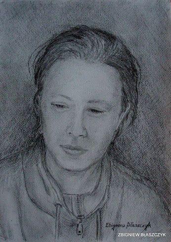 Zbigniew Błaszczyk - Portret znajomej wykonany ołówkiem na brystolu fakturowanym A-4