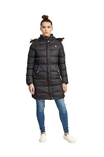7ed595d5e9cc Womens Brave Soul Long Fur Trimmed Hooded Padded Puffer Parka Winter Jacket  Coat UK 14 /
