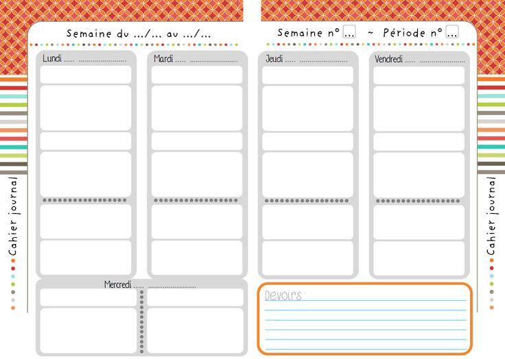 planificateur sans date enseignant | La double-page cahier journal (une version semaine à 5 jours et ...