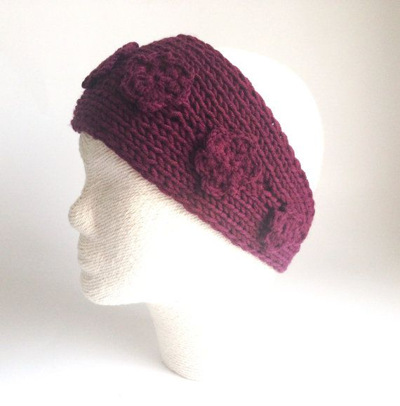Burgundy Hairband with flower Winter hair by LaVieBoeretroos