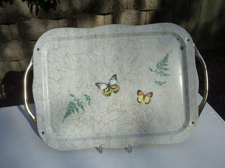 VTG Tin Lap TV Tray Handles White Butterflies Litho Print Scallop Edge Large