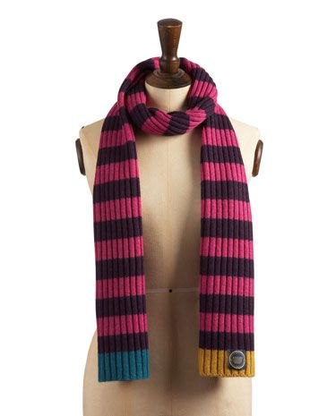 Joules null Womens Knitted Scarf, Dark Violet.                     Prepare to enter a world of warmth and cosiness. A scarf that you can rely on, season after season.
