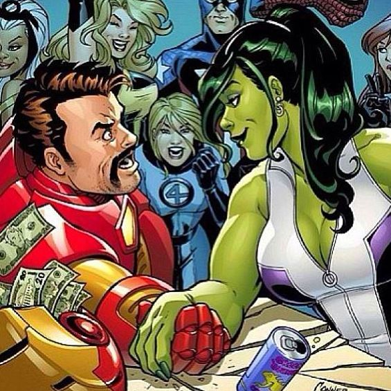 Marvel: Ironman & She Hulk Arm Wrestle, Haha I Like How He Always Has Money Stashed Somewhere That Happens To Be Flying Out All The Time.