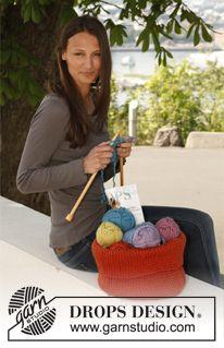 Crochet DROPS basket in Polaris. Free pattern by DROPS Design.