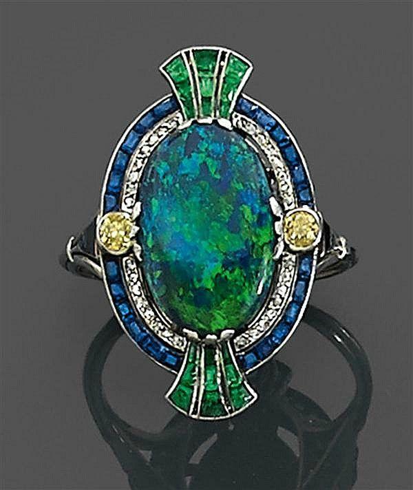 Circa 1910 black opal and diamond ring