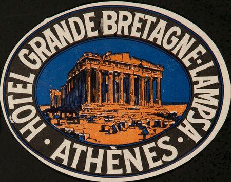 1920s Hotel Grande Bretagne, Lampsa, Athens, Greece vintage luggage label