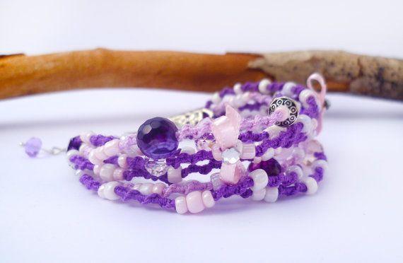 Purple bracelet macrame jewery Bocho chic by Hamelin