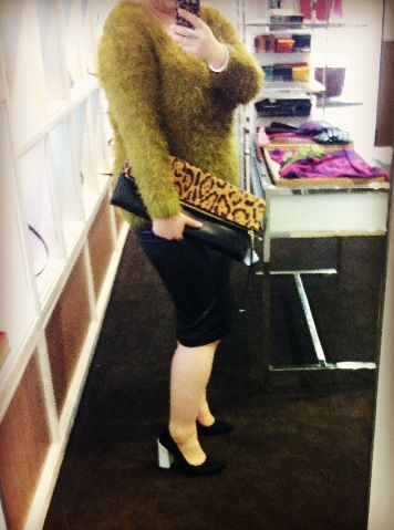 Topshop sweater, leather skirt and heels + my gorgeous Coach large clutchable leopard; ready for tonight's dinner with all the other managers #coach #topshop #leopard #clutch #clutchable