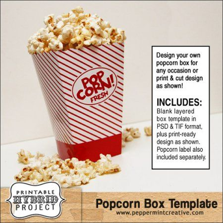 how to make a popcorn box template