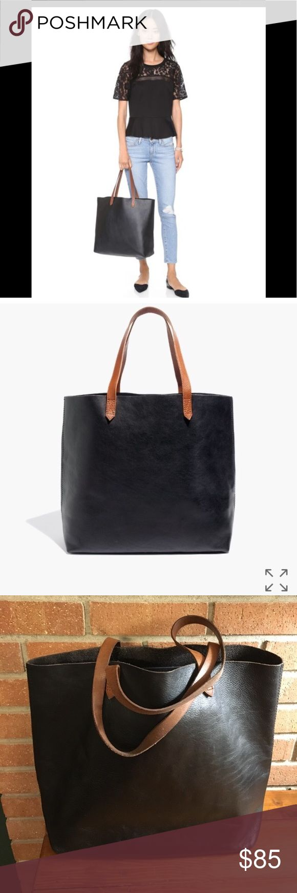 Madewell Transport Tote black & tan Well loved and ready for a new home - some wear to corners and handles and a few scuffs – priced accordingly – overall still in relatively good condition - no trades Madewell Bags Totes